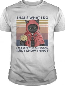 Black Cat Thats What I Do I Master The Dungeon And I Know Things Vintage shirt