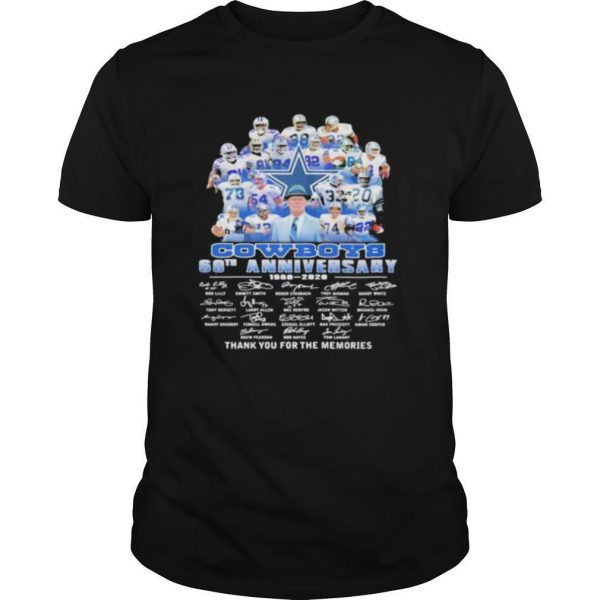 Dallas cowboys 60th anniversary 1960 2020 thank for the memories signatures shirt