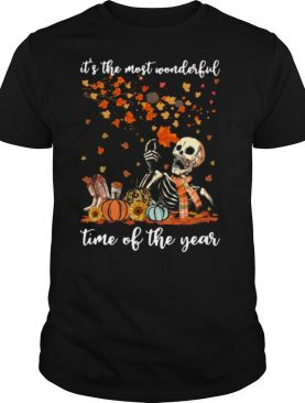 Skeleton It's The Most Wonderful Time Of The Year Pumpkin Halloween shirt
