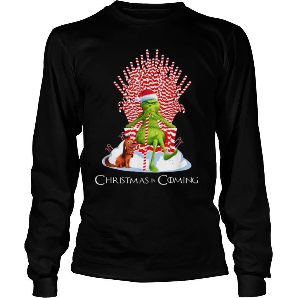 Grinch Is Coming Candy Cane Throne Funny Christmas Parody shirt