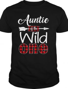 Auntie Of The Wild One Buffalo Plaid Red 1St shirt