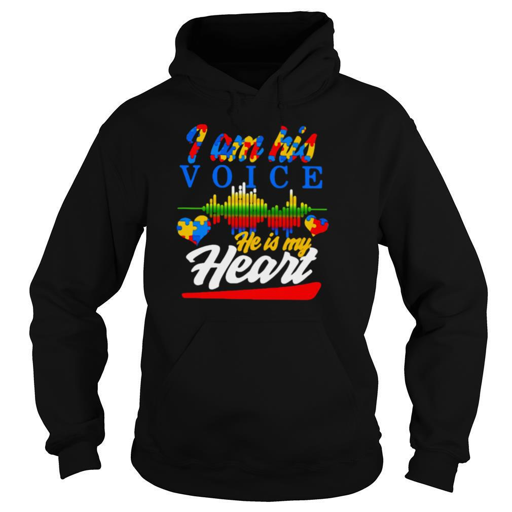 Autism Heart And Heartbeat Iam His Voice He Is My Heart shirt