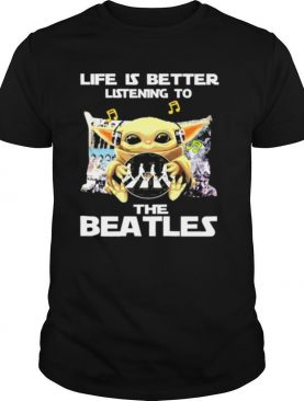 Baby Yoda hug The Beatles life is better listening to The Beatles shirt