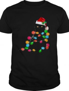 Black Cat Christmas lights shirt
