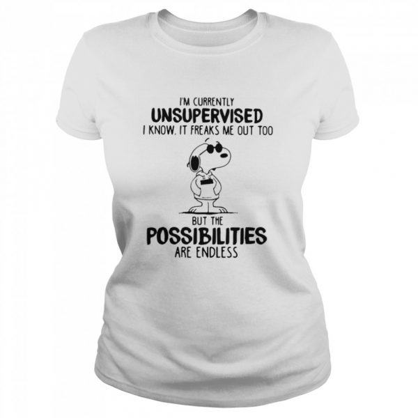 I'm Currently Unsuoervised I Know It Freaks Me Out Too But The Possibilities Are Endless Snoopy  Classic Women's T-shirt