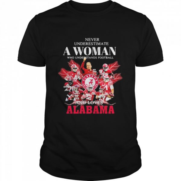 Never Underestimate A Woman Who Understands Football And Loves Alabama Crimson Tide  Classic Men's T-shirt