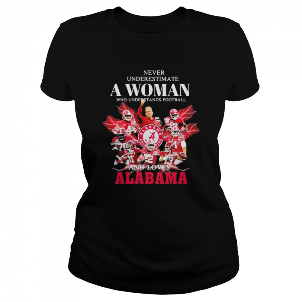Never Underestimate A Woman Who Understands Football And Loves Alabama Crimson Tide Classic Women's T-shirt
