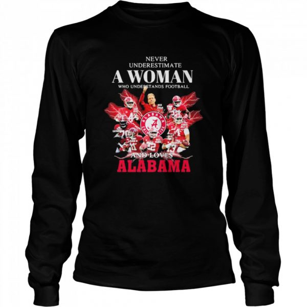 Never Underestimate A Woman Who Understands Football And Loves Alabama Crimson Tide  Long Sleeved T-shirt