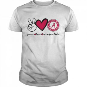 Peace Love And Alabama Crimson Tide Logo 2021  Classic Men's T-shirt