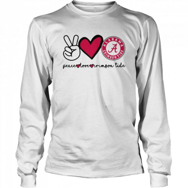 Peace Love And Alabama Crimson Tide Logo 2021  Long Sleeved T-shirt