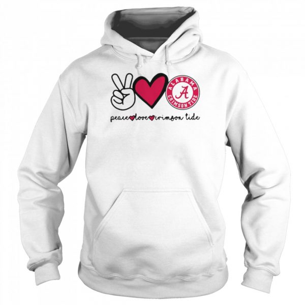 Peace Love And Alabama Crimson Tide Logo 2021  Unisex Hoodie